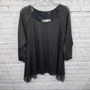 New Directions Black/Gold Blouse NWT Size XL